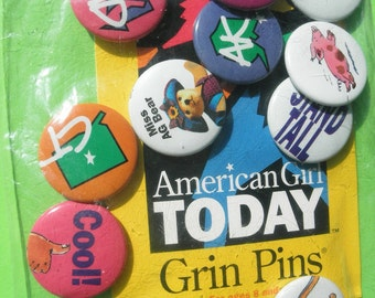 American Girl Today 10 Grin Button Pins New Vintage in Package Pleasant Company Collectible