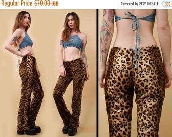 90s Vtg Fuzzy Velvet LEOPARD Print Wide Leg Flare Pants / Faux Fur 579 Back Zipper Club Kid GLAM Grunge /
