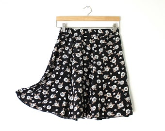Blue Black Daisys Floral Print 90s inspired Flirty Skirt Handmade OOAK Elastic Waist