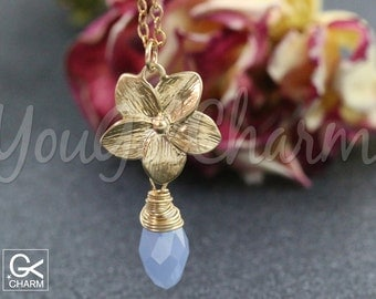 Orchid Necklace- Orchid Flower necklace- Pendant Jewelry- Gold Orchid- Gold Orchid Lariat Necklace With your Choice of Crystal