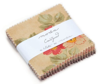 "Mini Charm pack COURTYARD from  3 SISTERS 42 2.5"" squares Moda cotton fabric beautiful floral 44120MC"