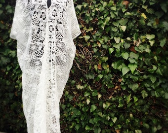Palm Spring Lace Dress, Boho style, Beach Coverup, Resort maxi, One size fits all, size Small Medium Large, White