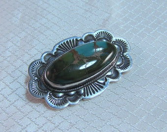 Rare Apache Silversmith Al Somers Sterling and Turquoise Brooch
