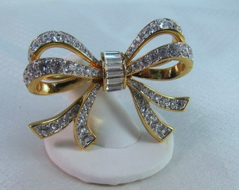 Swarovski Crystal Gold Plated Bow Brooch
