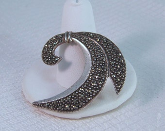 Mid-Century Modernist Sterling and Marcasites Brooch
