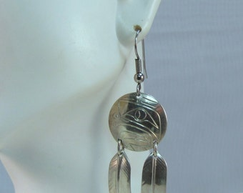 Alaskan or Northwestern Native American Artist Signed Eagle Eye and Feather Silver Earrings
