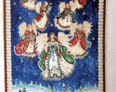 Angel Fabric Panel, Angels, Christmas scene, Winter Village