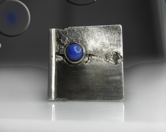 statement sterling silver ring with lapis lazuli, contemporary, modern, patinated