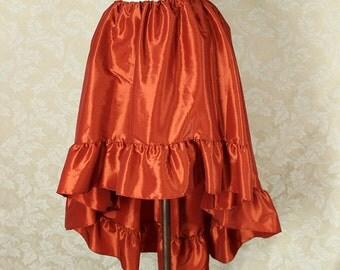 "Steampunk High Low Cecilia Skirt, Longer Length -- Rusty Orange Taffeta -- Ready to Ship -- Best Fits Up To 48"" Waist"