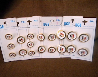 18 button set in 3 sizes still on cards vintage enameled metal buttons