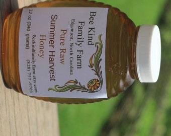 Pure Raw Honey Summer  Harvest 12 oz jar