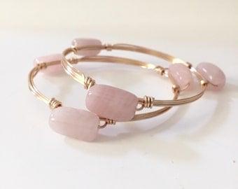 Rose Quartz Stone Wire Wrapped Bangle Bracelet
