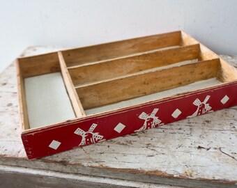 Red Utensil Holder - Vintage Red Wooden Container Windmill Knick Knack Holder Silverware Holder Silver Ware Container Wooden Flatware Tray