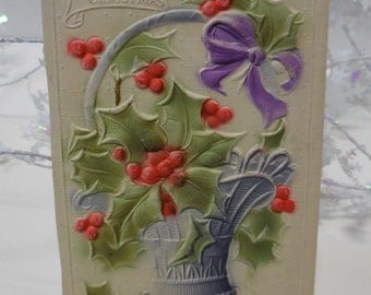 Antique postcard A Joyful Christmas Embossed raised Basket Holly and berries