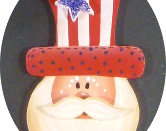 Uncle Sam Pin/Magnet Americana Glitter Star Hand Painted Wood July