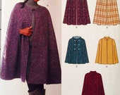 New Look 6073, Size XSmall, Small, Medium, Large, XLarge, Capes Pattern, UNCUT, Hooded Cape, 2011, Outerwear, Cool Weather Coat