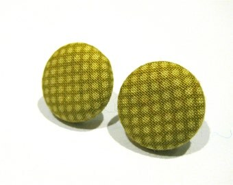 Fabric covered button earrings in a acid green polka dot pattern