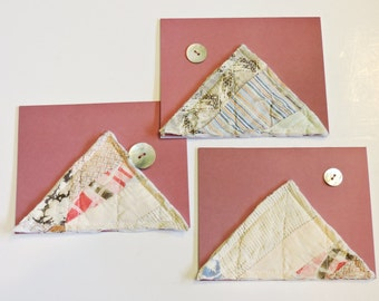 Vintage Patchwork Cards, Abstract Mountains Pink Sky Moon Quilted All Occasion Greeting Notecard Handmade Stationery Set of 3 itsyourcountry