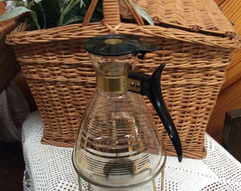 Vintage Pyrex Carafe Warmer Mid Century Coffee Maker candle Warmer