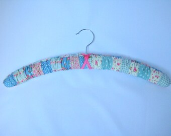 Fabric Covered Adult Coathanger - Blue and Pink Patchwork Floral Cotton Prints, Cottage Chic Coathanger, Clothes Hanger