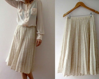 70s 80s Ivory Sheer Boucle Weave Accordion Pleated Skirt Small