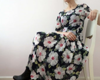 80s Black White Floral Day Dress Drop Waist Pleated Dress Jane Lamerton 10