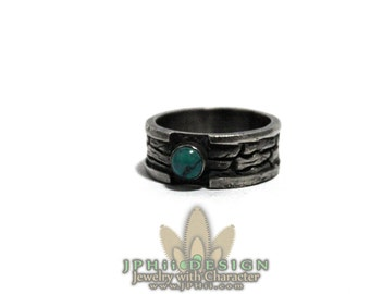 Dark Log Ring with Turquoise