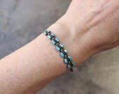 Double Row Turquoise Bracelet / Early Stamped Carinated Cuff / Vintage Southwest Stacking Ingot Bracelet