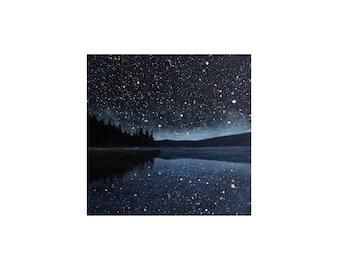 Night Sky Lake Painting - 6 x 6