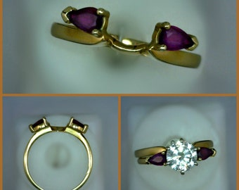 Shadow Band or Wrap-Style Enhancer Mounting 2 Synthetic Marquise Cut Rubies, 14K Gold, Size 7