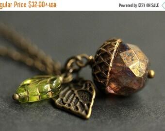 VALENTINE SALE Acorn Necklace. Copper Shimmer Acorn Pendant. Brown Acorn Necklace. Crystal Acorn Charm Necklace. Bronze Acorn Jewelry.  Hand