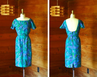 vintage 1960s dress / 60s silk watercolor wiggle dress / size xs