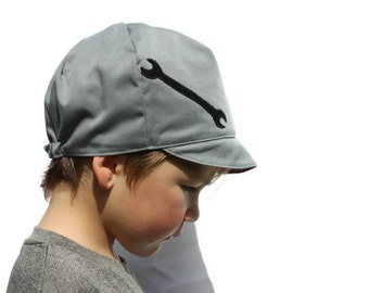 SALE*** Boys Mechanic Hat, Toddler Boy Hat, Toddler birthday gift, Red Reversible, Baby, Toddler, Child or Kids Hat - S M - Boy or Girl