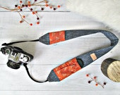 Cross Body Camera Strap with Pockets. Denim DSLR Strap with Rusty Orange Lens Pockets. Padded Camera Strap. Photography Gift. Gift Under 50.