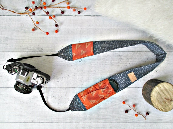 Camera Strap with Pockets | Cross Body Blue Denim Strap with Pumpkin Lens Cap Pockets