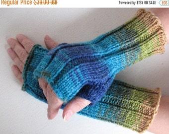 Fingerless Gloves Blue Turquoise Azure Beige Green, wrist warmers