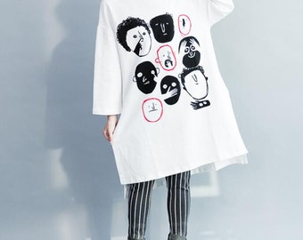 Leisure Long white cotton T-shirt