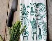 Flour Sack Tea Towel - Houseplants  - Hand Printed Original illustration