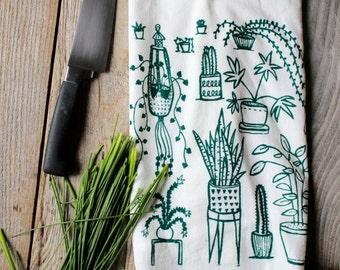 Flour Sack Tea Towel - Houseplants  - Hand Printed Original illustration