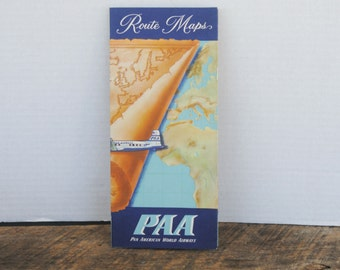 Vintage PAA Route Map Pan American World Airlines