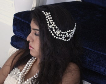 Distinctive Pearl and Crystal Hairpiece, Modern Bridal Hairpiece, Swarovski Crystal Hair Bandeau, Alternative Bridal Hairpiece, Modern