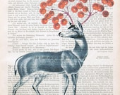 DEER WITH CHERRIES art print dictionary art vintage page print wall decor illustration