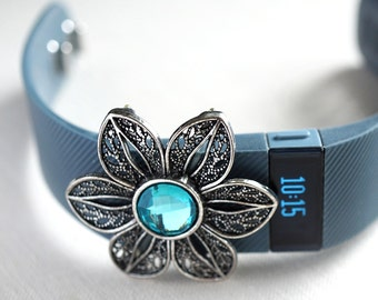 Wearable Tech Jewelry Fitbit Flex Band FitBit Bling Fitness Band accessories Fitness Jewelry Aqua Blue Turquoise Crystal Flower Girlfriend