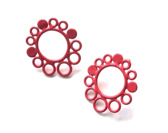 red circle stud earrings with hypoallergenic surgical steel posts and butterfly backs, round wire powder coated in red SALE 50 PERCENT OFF