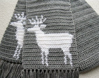 Gray Deer Scarf. Grey crochet animal scarf with white deer silhouettes