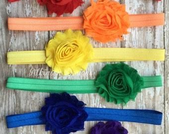 Rainbow Headband Set, Chiffon Flower Rainbow Headband Set, Newborn,Infant, Toddler,Adult,Red Orange Yellow Green Blue Purple Headband set