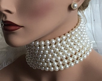 Bridal jewelry set, Bridal choker necklace earrings, Wedding choker, Ivory Victorian pearl jewelry set, bridesmaid jewelry, choker set