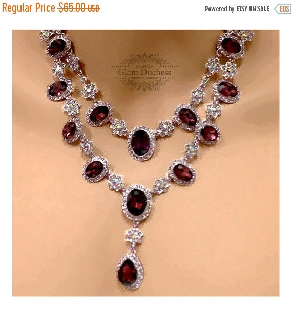Wedding jewelry set vintage inspired Marsala by GlamDuchess
