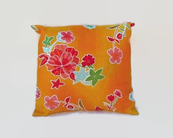Bright Flowered Orange  Pillow Cover 16 Inch Square Upcycled 16 X 16