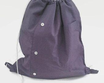 Purple Men's Shirt Cinch Sack Upcycled Drawstring Backpack